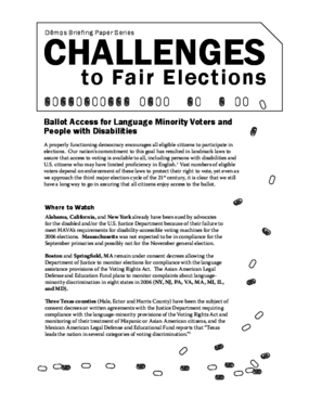 Challenges to Fair Elections 3: Ballot Access for Language Minority Voters and People with Disabilities