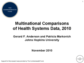 Multinational Comparisons of Health Systems Data, 2010