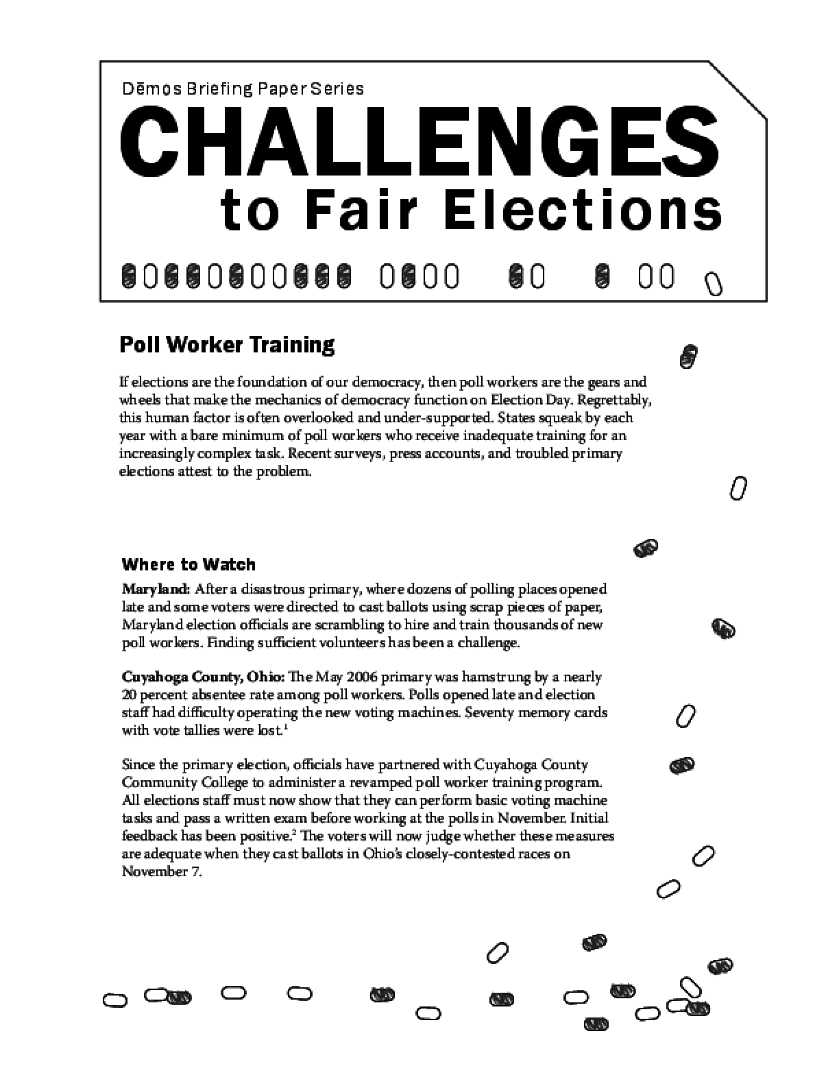 Challenges to Fair Elections 5: Poll Worker Training - IssueLab