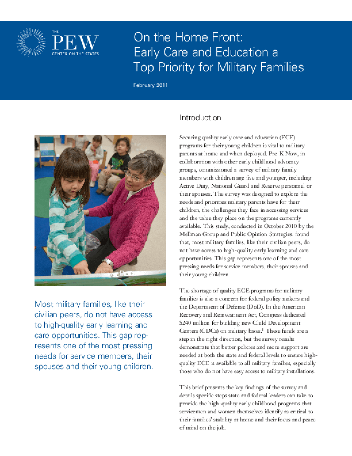 On the Home Front: Early Care and Education a Top Priority for Military Families