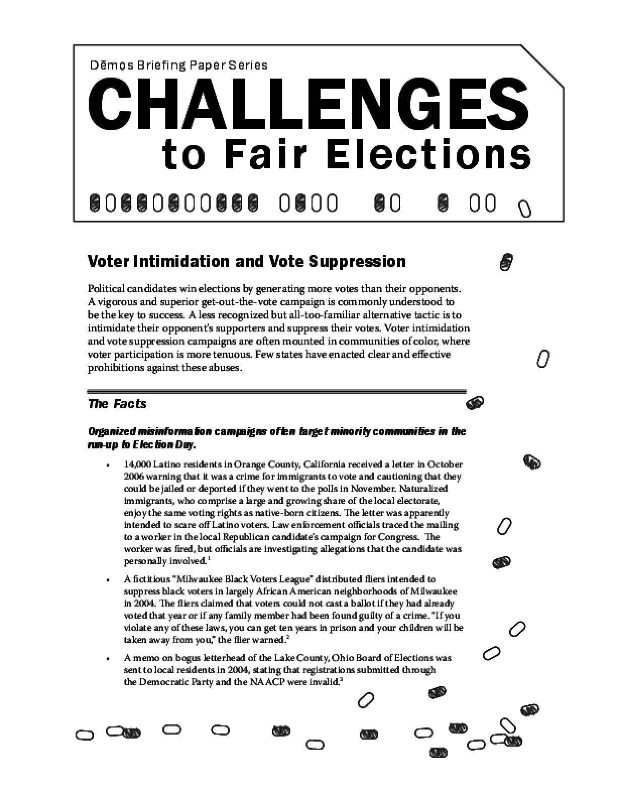 Challenges to Fair Elections 7: Voter Intimidation and Vote Suppression