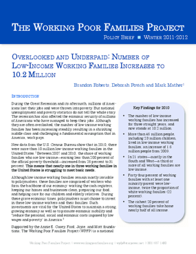 Overlooked and Underpaid: Number of Low-Income Working Families Increases to 10.2 Million