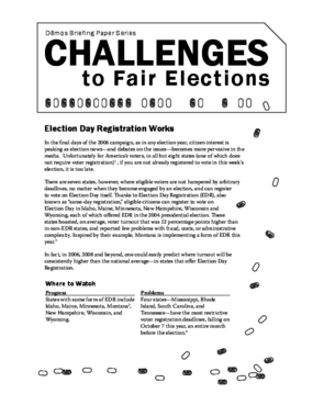 Challenges to Fair Elections 8: Election Day Registration Works