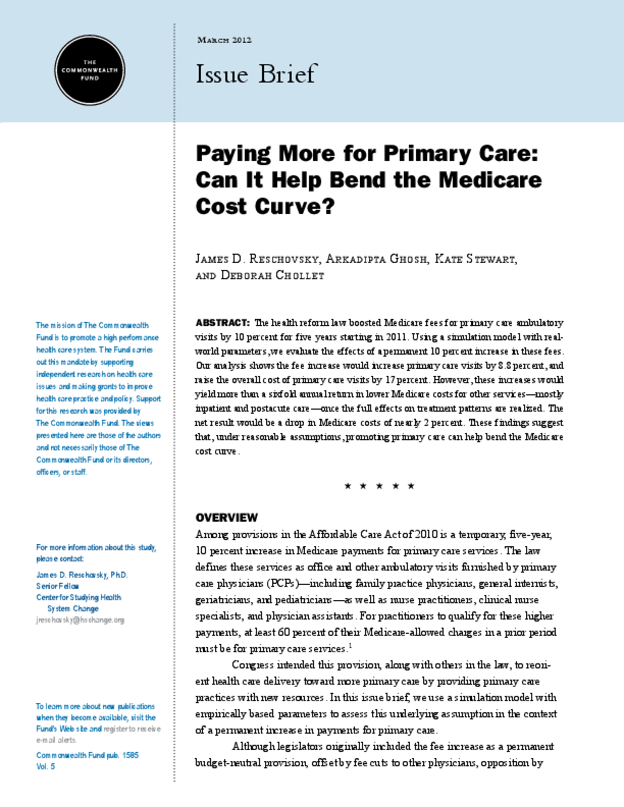 Paying More for Primary Care: Can It Help Bend the Medicare Cost Curve?