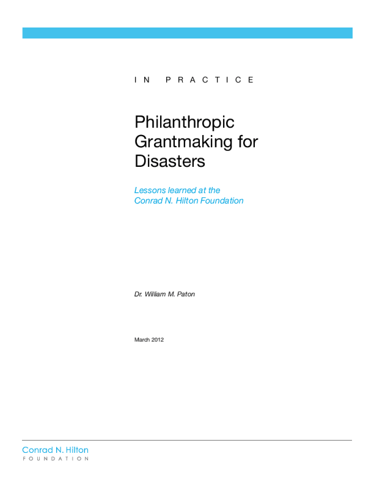 Philanthropic Grantmaking for Disasters