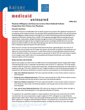 Physician Willingness and Resources to Serve More Medicaid Patients: Perspectives From Primary Care Physicians