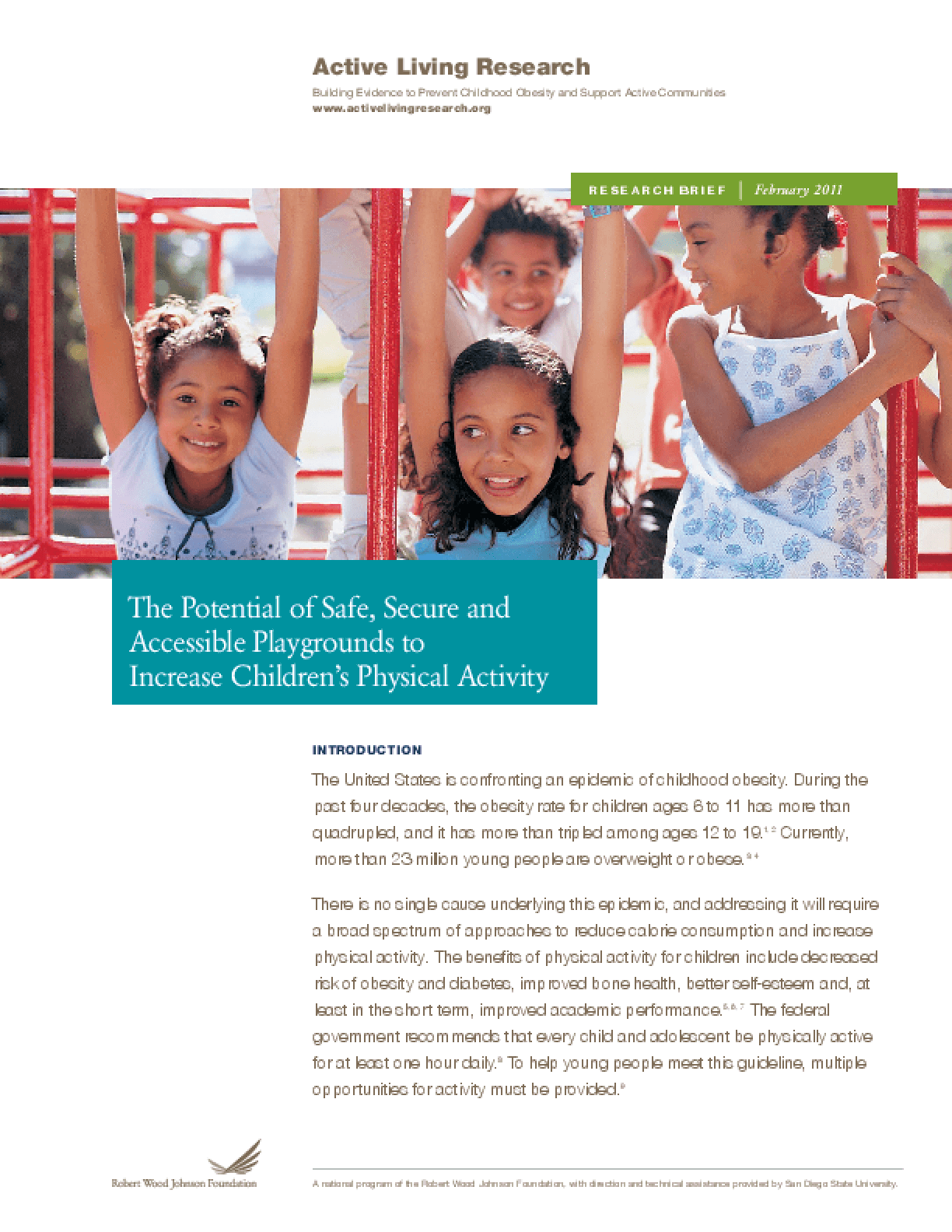 The Potential of Safe, Secure and Accessible Playgrounds to Increase Children's Physical Activity