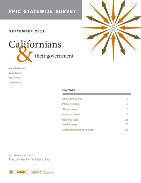 PPIC Statewide Survey: Californians and Their Government September 2011