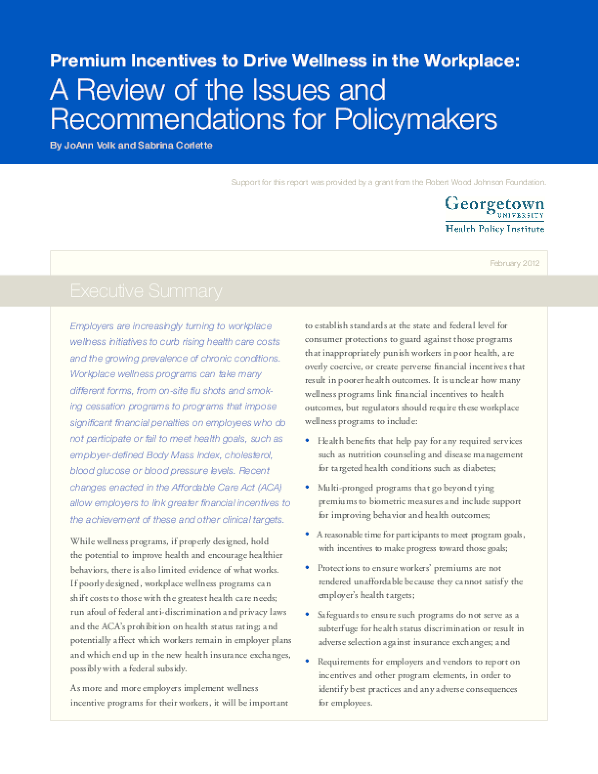 Premium Incentives to Drive Wellness in the Workplace: A Review of the Issues and Recommendations for Policymakers