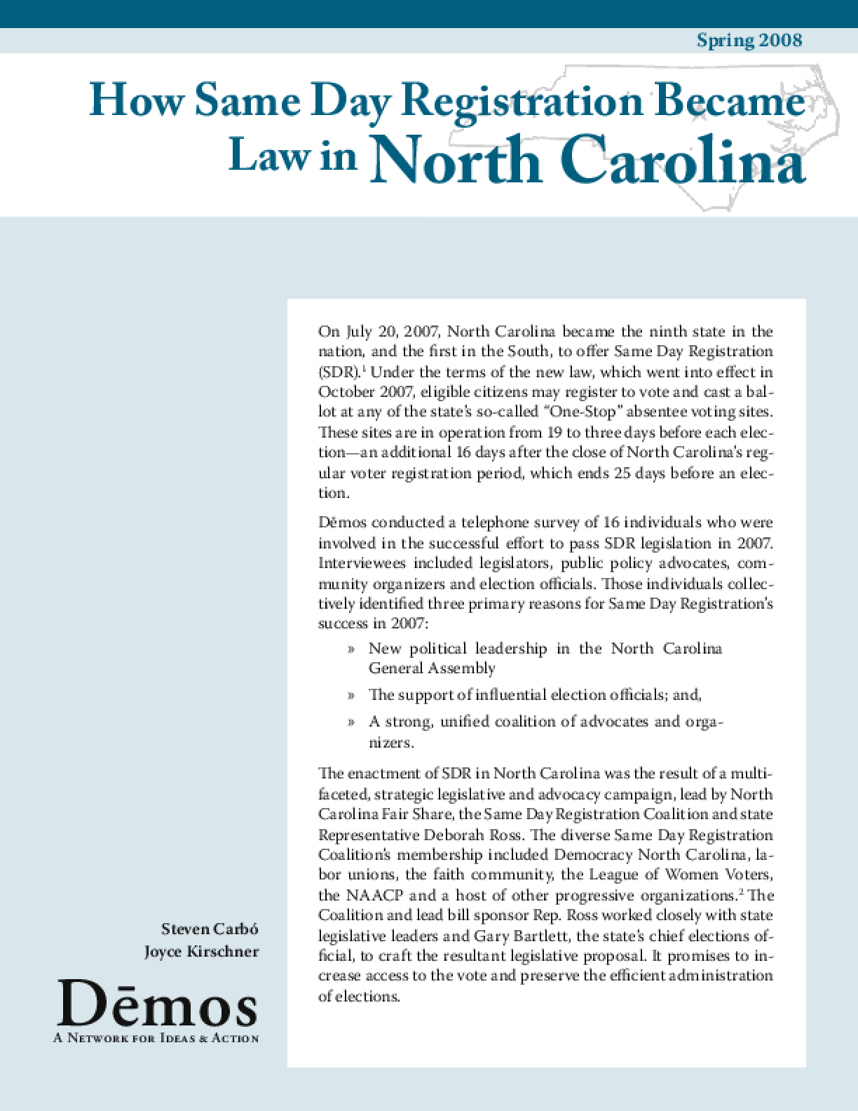 How Same Day Registration Became Law in North Carolina