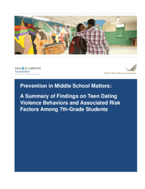 Prevention in Middle School Matters: A Summary of Findings on Teen Dating Violence Behaviors and Associated Risk Factors Among 7th-Grade Students