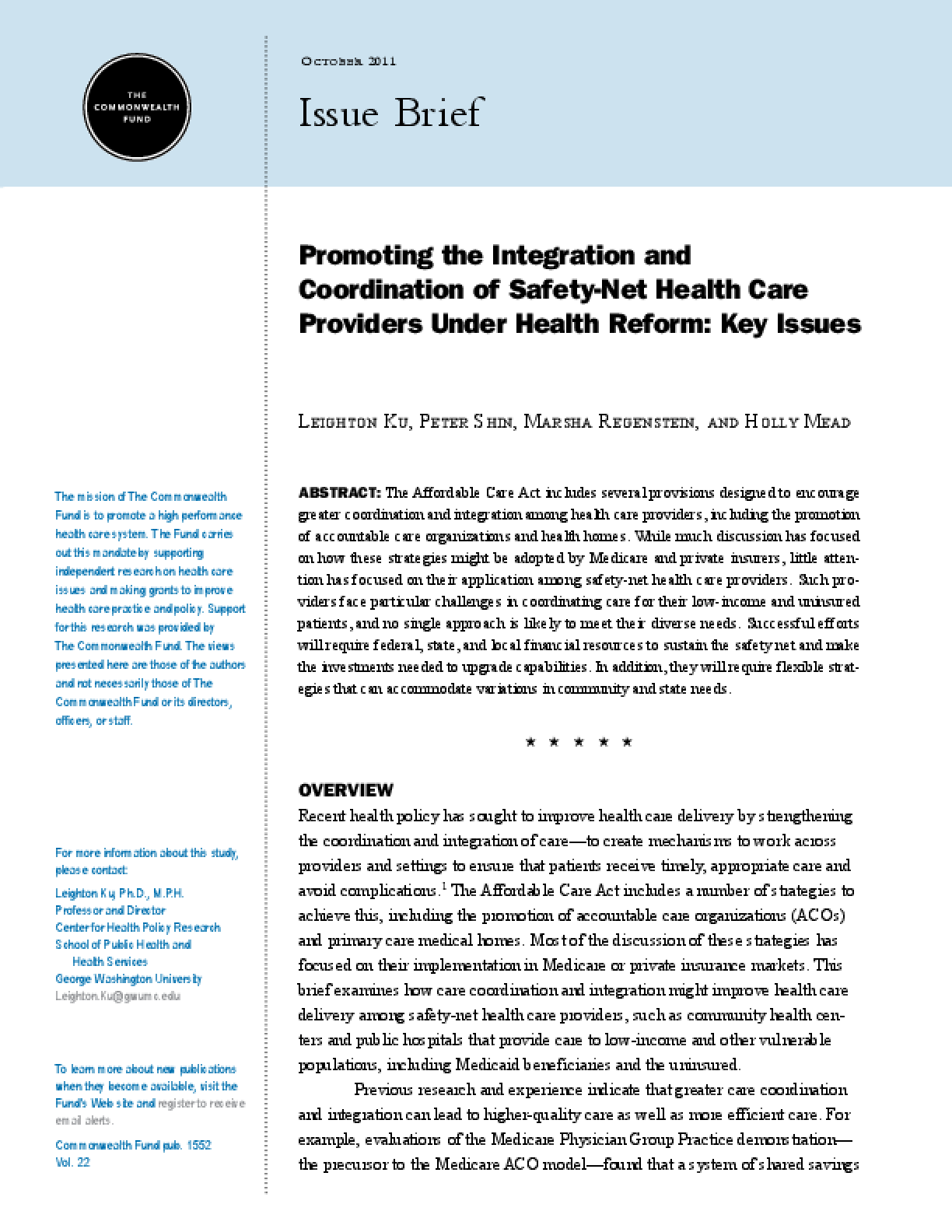 Promoting the Integration and Coordination of Safety-Net Health Care Providers Under Health Reform: Key Issues
