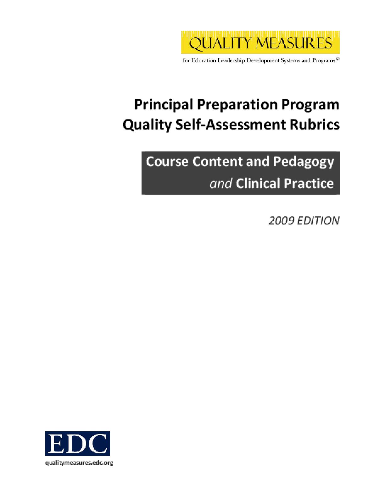 Quality Measures: Principal Preparation Program Assessment