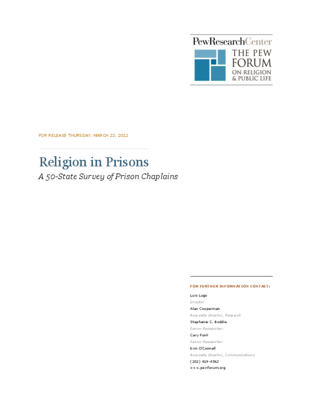 Religion in Prisons: A 50-State Survey of Prison Chaplains