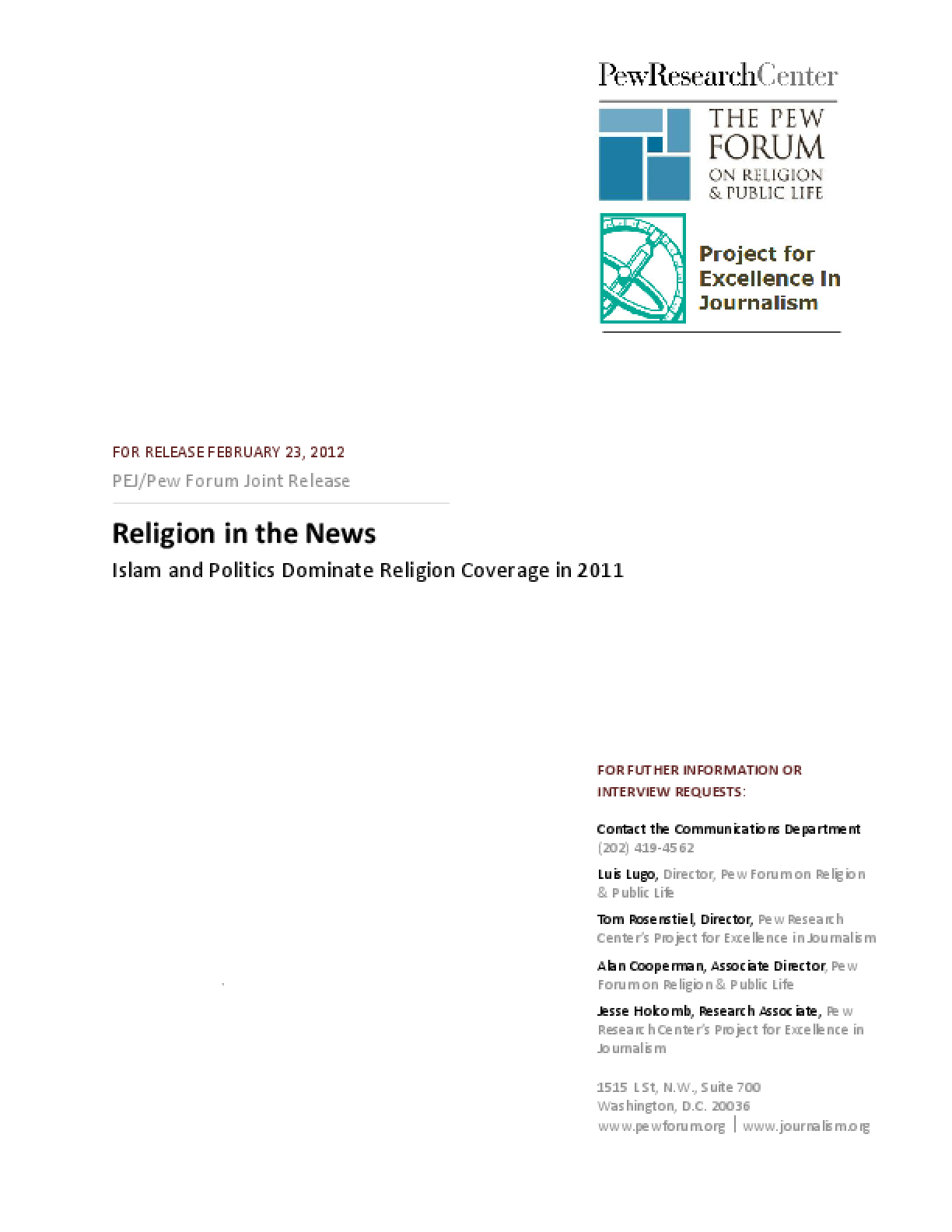 Religion in the News: Islam and Politics Dominate Religion Coverage in 2011