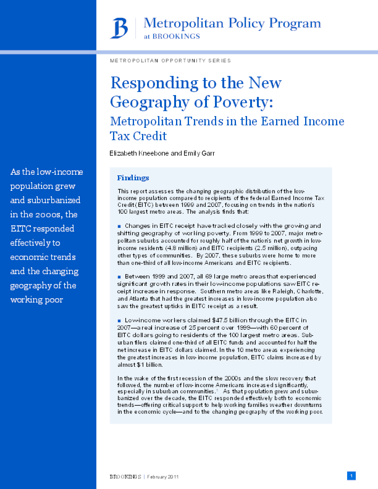 Responding to the New Geography of Poverty: Metropolitan Trends in the Earned Income Tax Credit