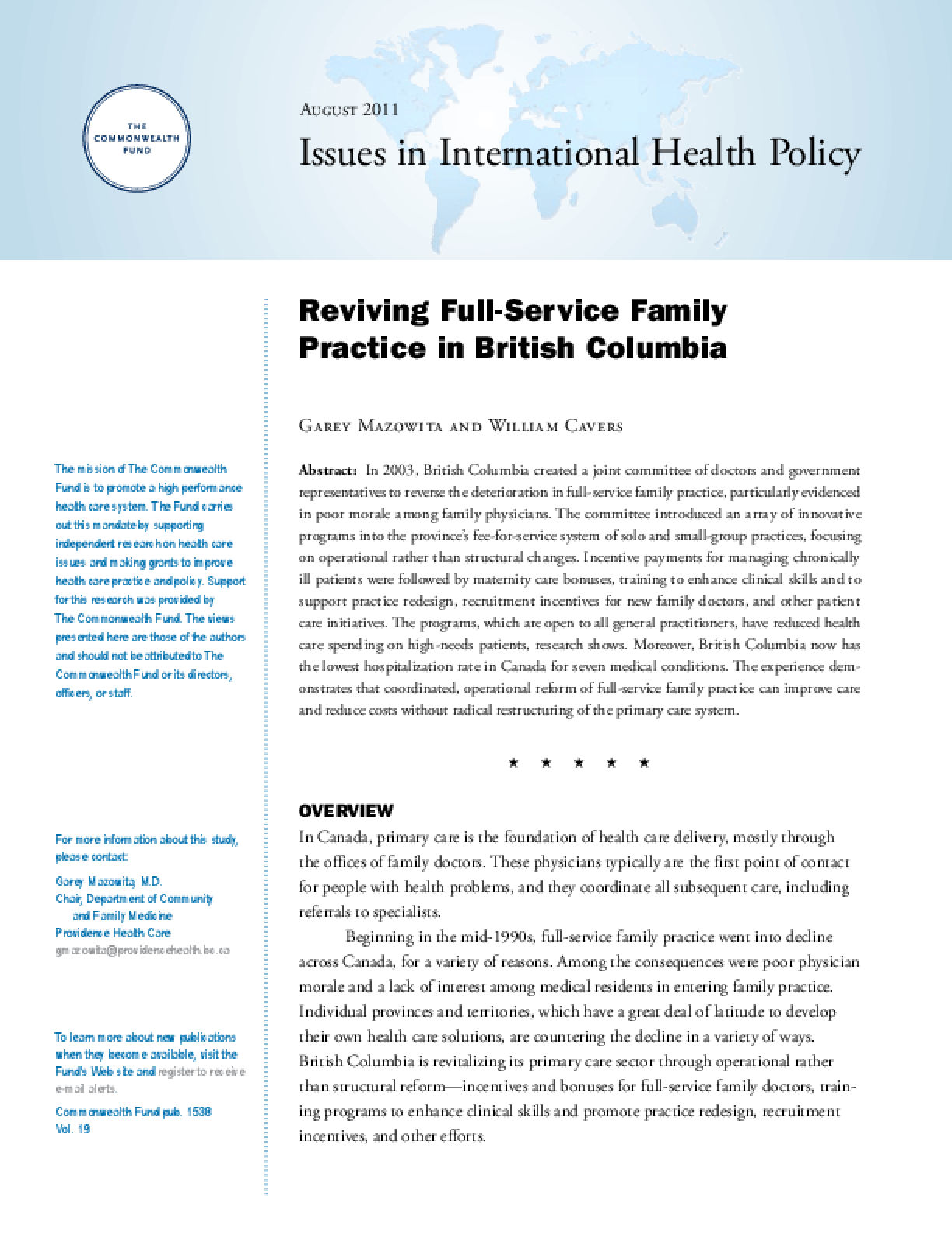 Reviving Full-Service Family Practice in British Columbia