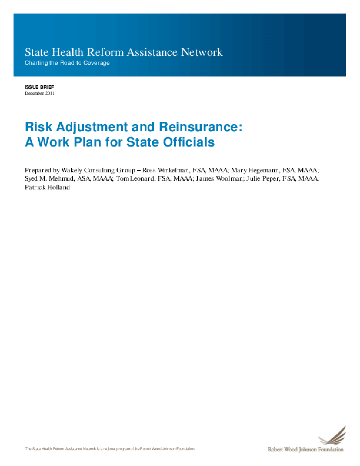 Risk Adjustment and Reinsurance: A Work Plan for State Officials