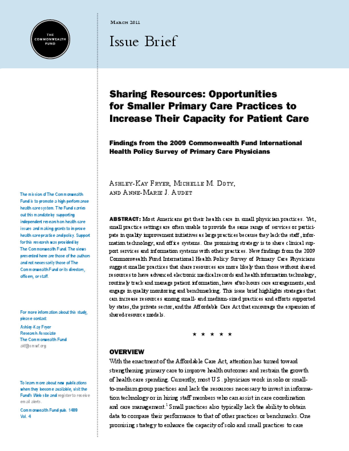 Sharing Resources: Opportunities for Smaller Primary Care Practices to Increase Their Capacity for Patient Care