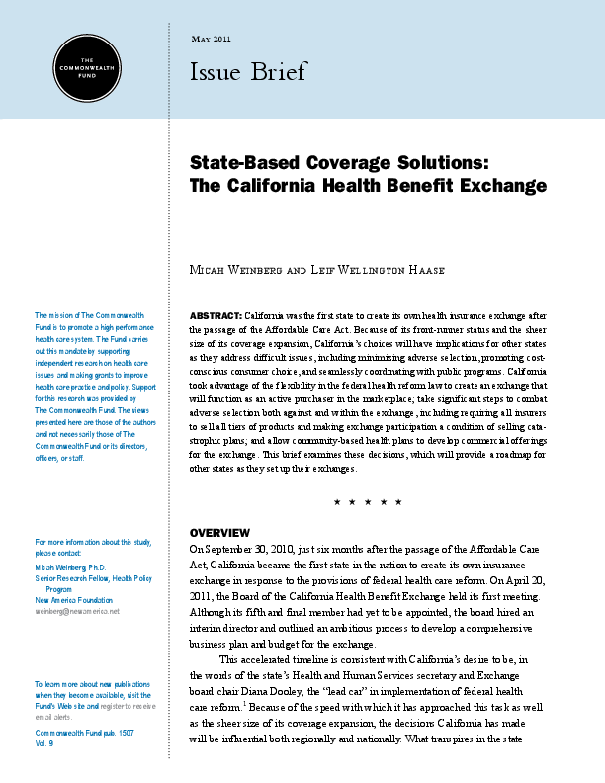 State-Based Coverage Solutions: The California Health Benefit Exchange
