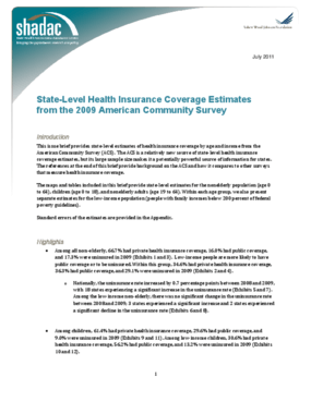 State-Level Health Insurance Coverage Estimates From the 2009 American Community Survey