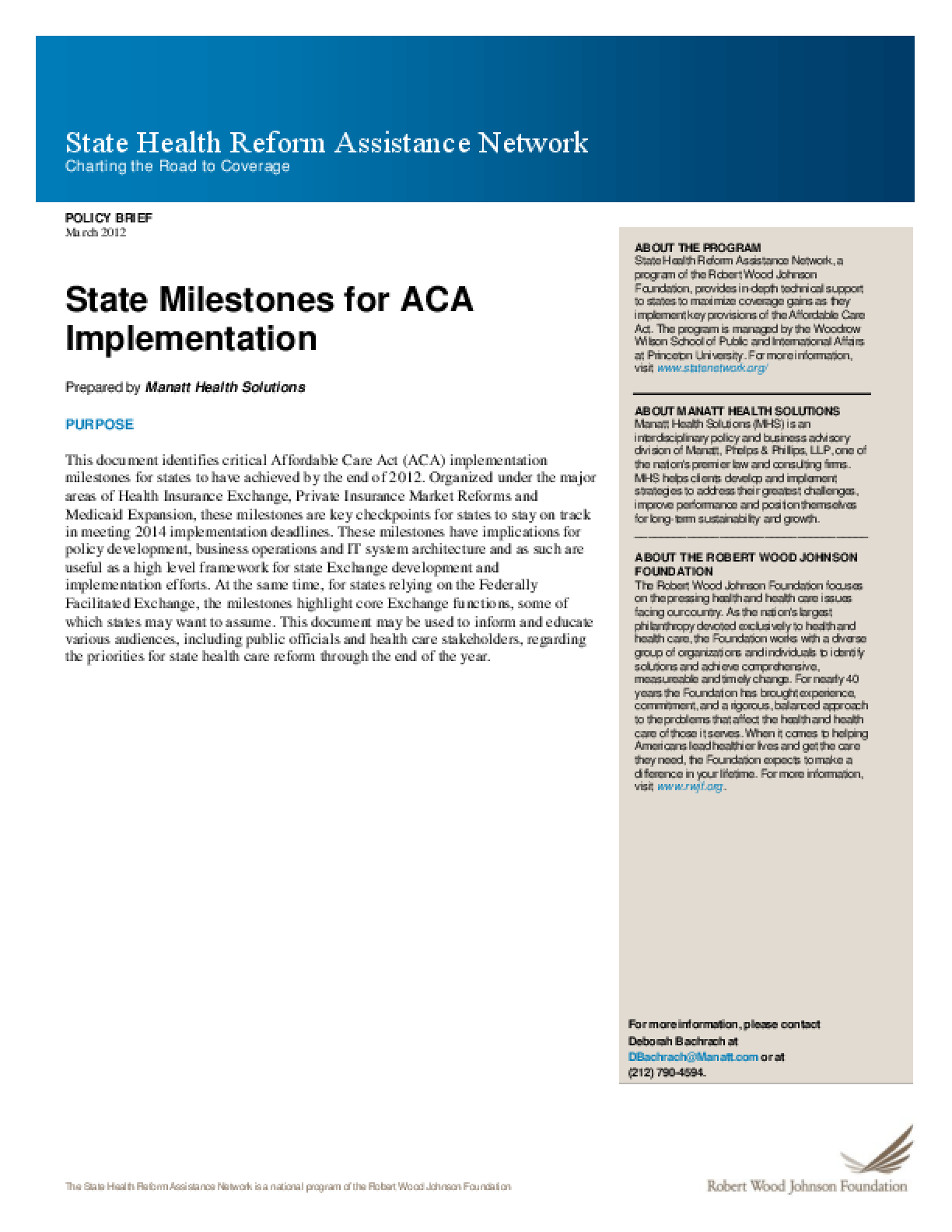 State Milestones for ACA Implementation