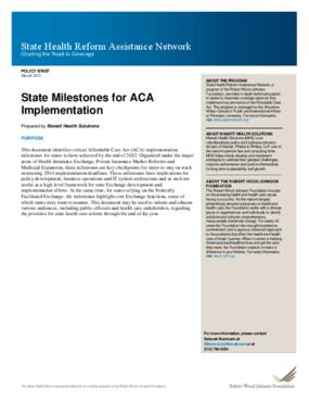 State Milestones for ACA Implementation