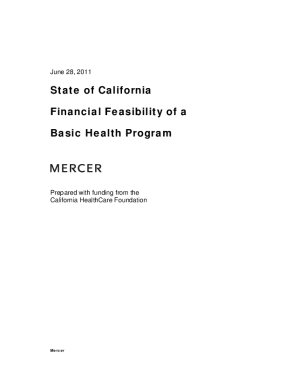 State of California Financial Feasibility of a Basic Health Program