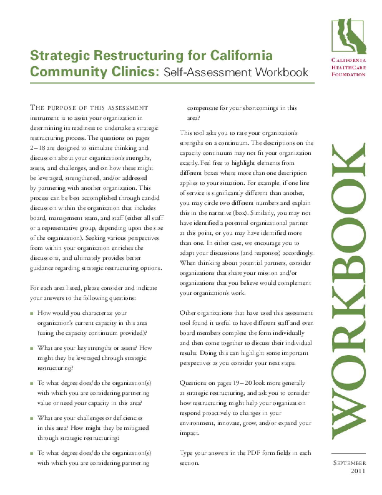 Strategic Restructuring for California Community Clinics: Self-Assessment Workbook