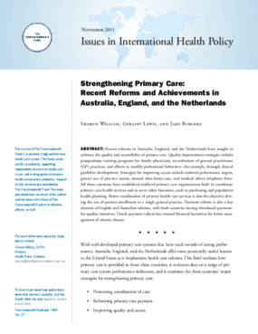 Strengthening Primary Care: Recent Reforms and Achievements in Australia, England, and the Netherlands