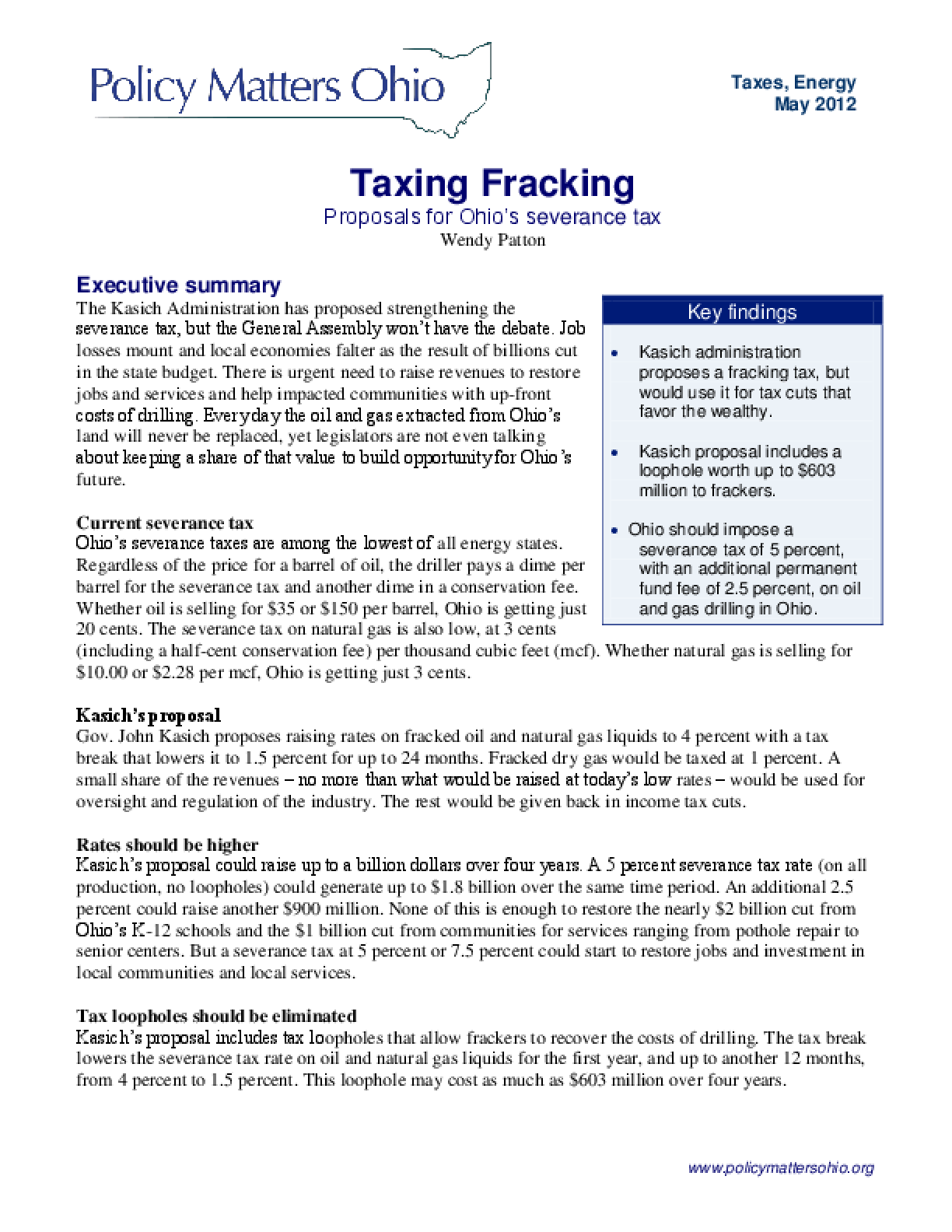 Taxing Fracking: Proposals for Ohio's Severance Tax