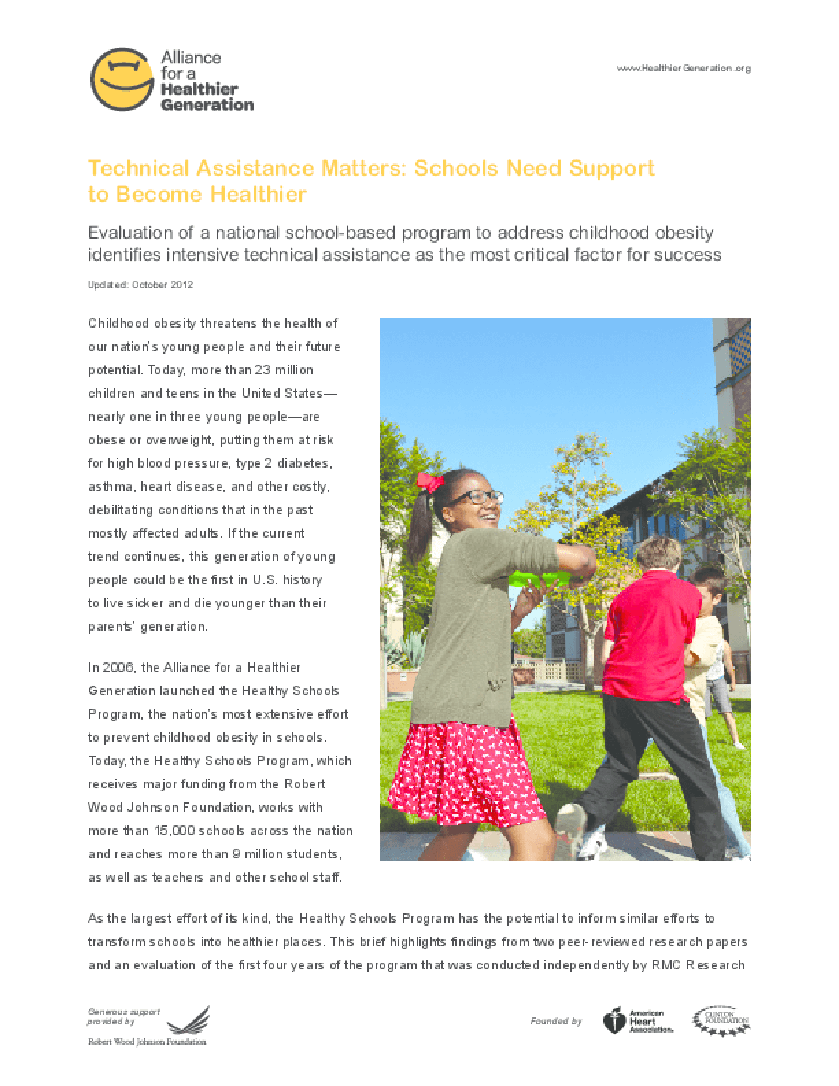 Technical Assistance Matters: Schools Need Support to Become Healthier