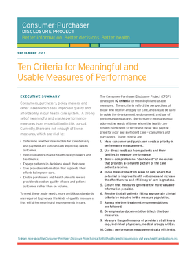 Ten Criteria for Meaningful and Usable Measures of Performance