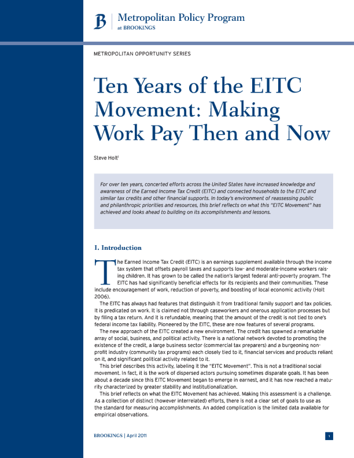 Ten Years of the EITC Movement: Making Work Pay Then and Now