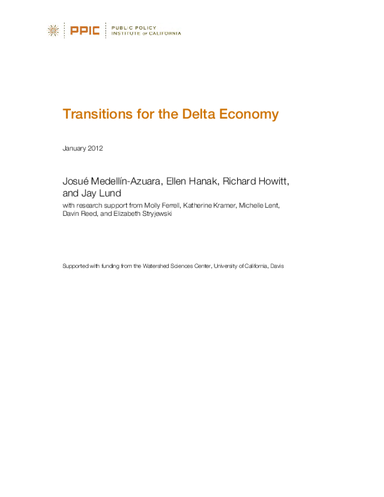 Transitions for the Delta Economy
