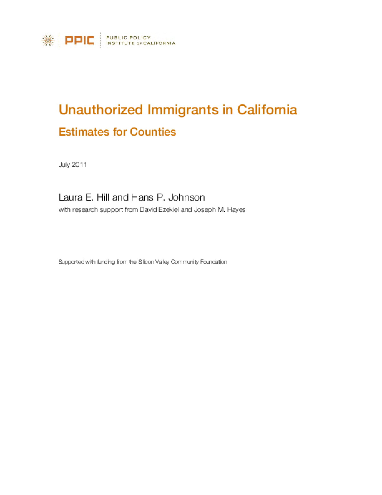 Unauthorized Immigrants in California: Estimates for Counties