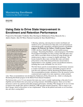 Using Data to Drive State Improvement in Enrollment and Retention Performance
