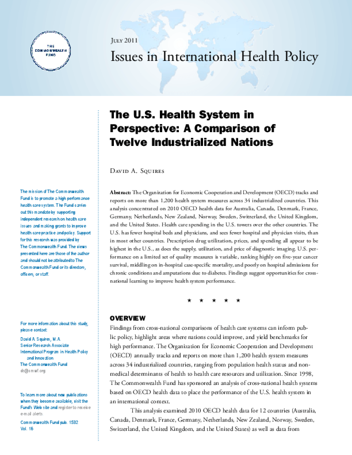 The U.S. Health System in Perspective: A Comparison of Twelve Industrialized Nations