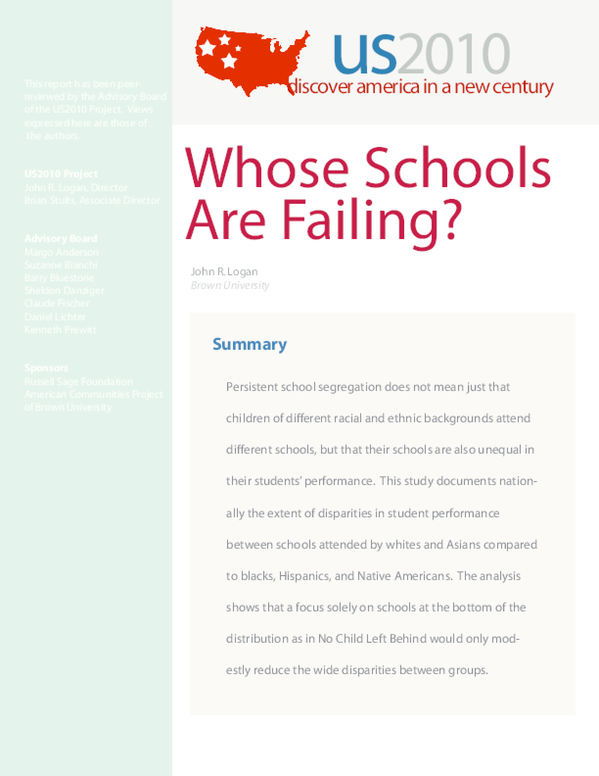 Whose Schools Are Failing?