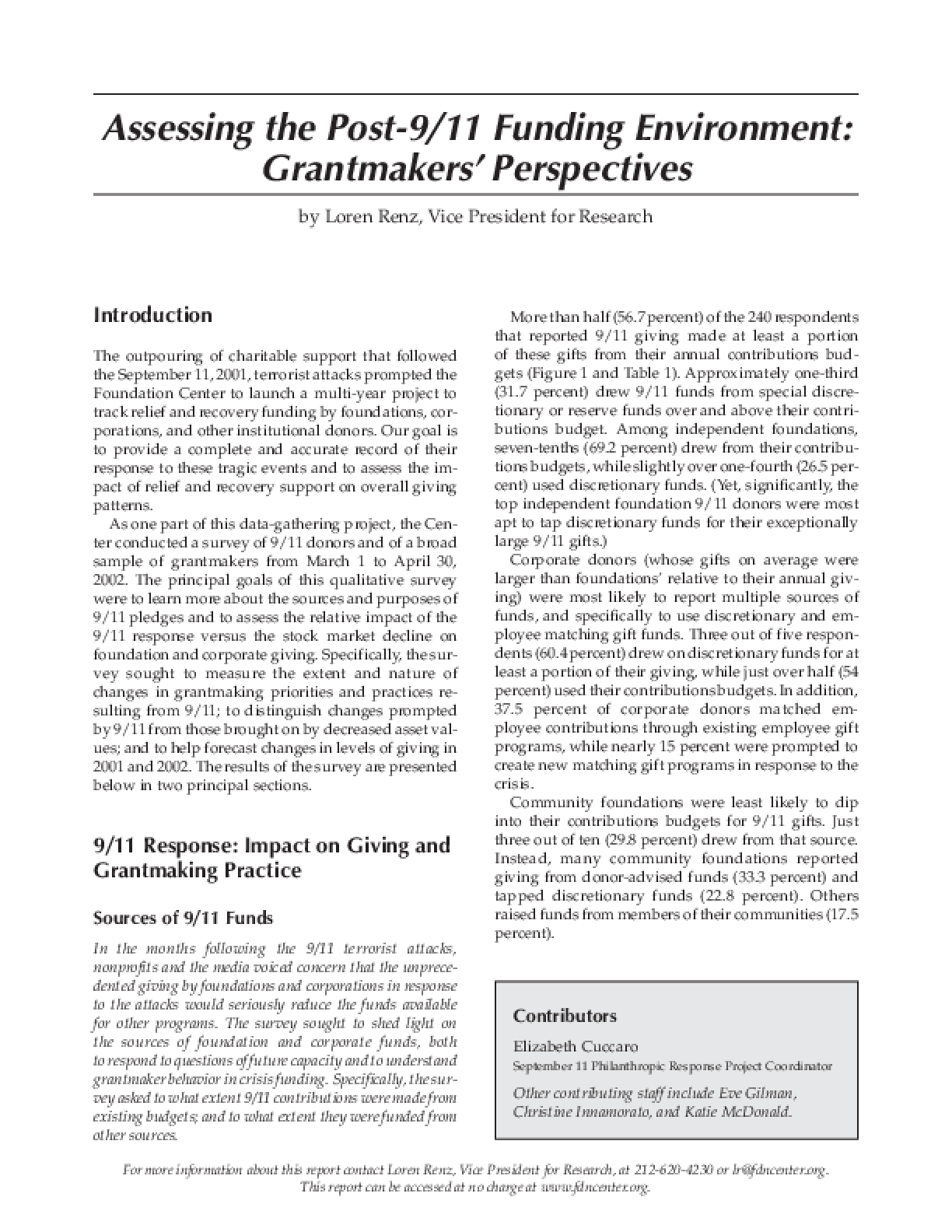 Assessing the Post-9/11 Funding Environment: Grantmakers ...