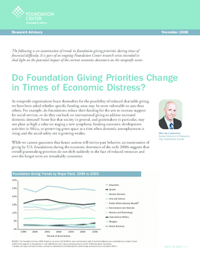 Do Foundation Giving Priorities Change in Times of Economic Distress?
