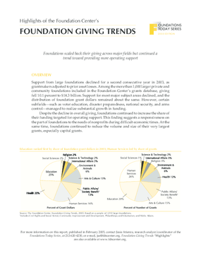 Foundations Today: Foundation Giving Trends, 2005 edition (Highlights)