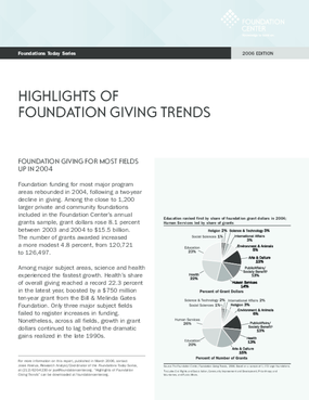 Foundations Today: Foundation Giving Trends, 2006 edition (Highlights)