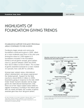 Foundations Today: Foundation Giving Trends, 2007 edition (Highlights)