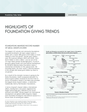 Foundations Today: Foundation Giving Trends, 2008 edition (Highlights)