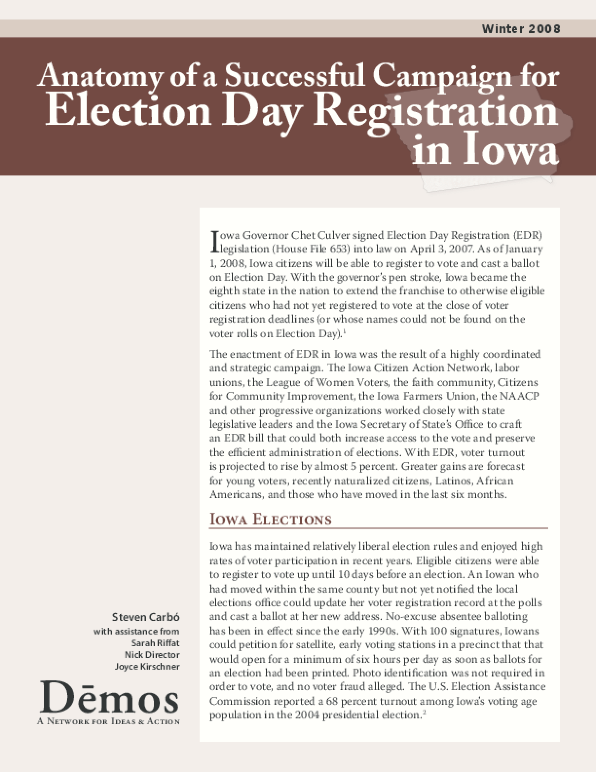 Anatomy of a Successful Campaign for Election Day Registration in Iowa
