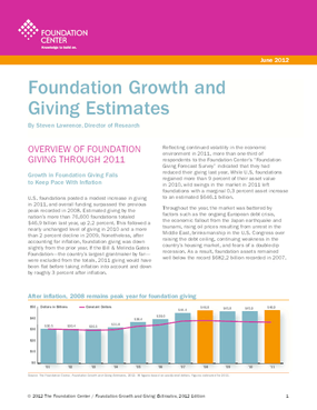 Foundation Growth and Giving Estimates, 2012 Edition
