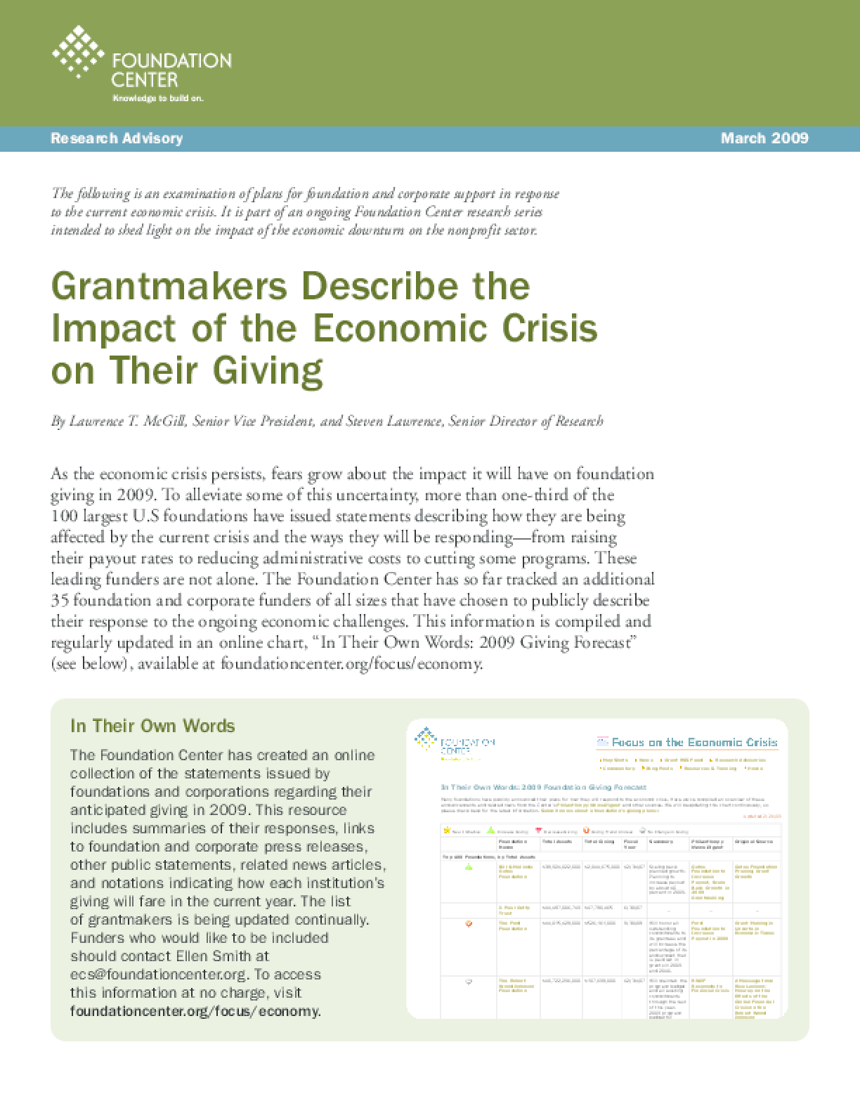 Grantmakers Describe the Impact of the Economic Crisis on Their Giving