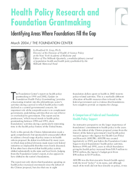 Health Policy Research and Foundation Grantmaking
