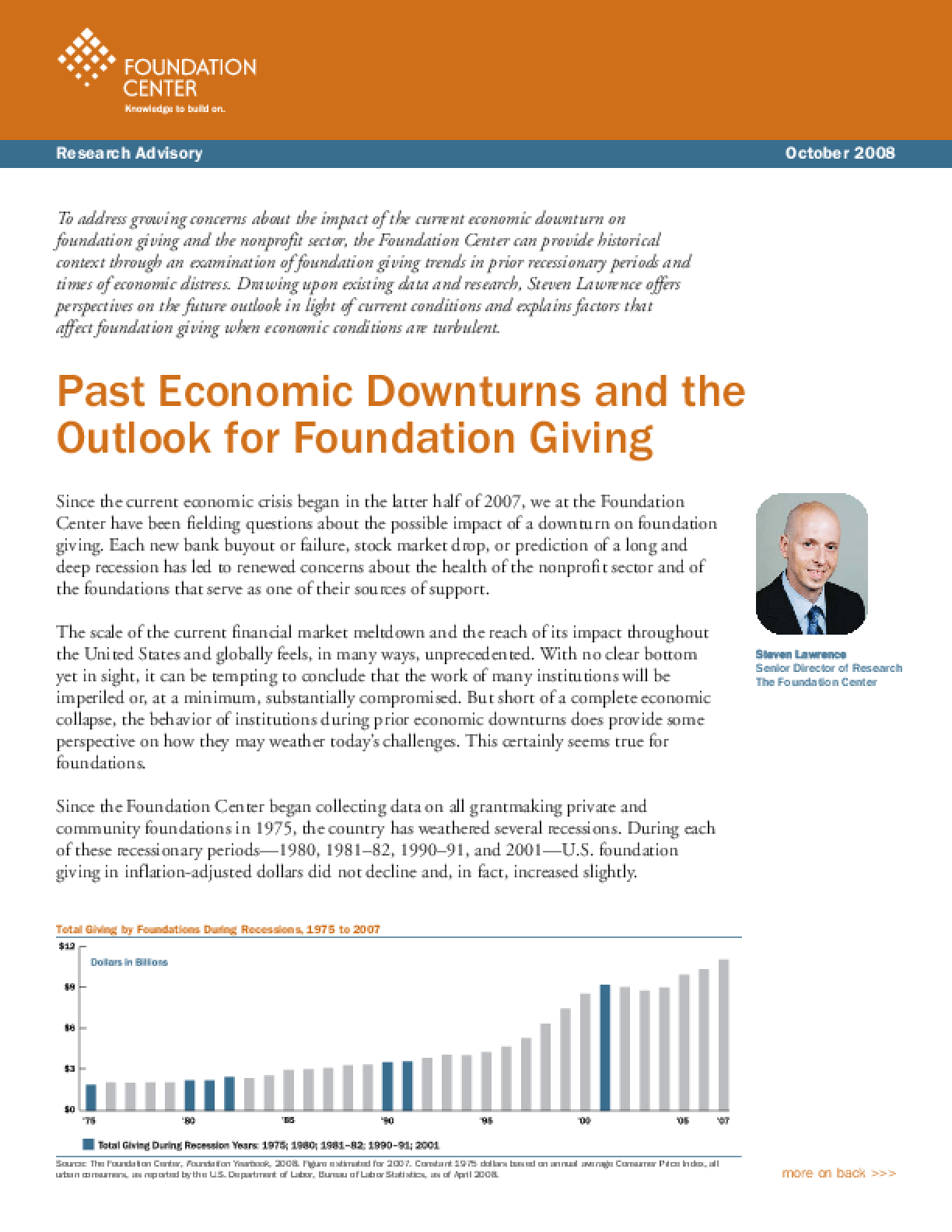 Past Economic Downturns and the Outlook for Foundation Giving